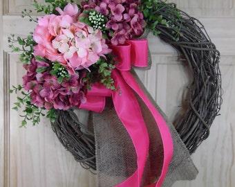 Spring Wreath - pink hydrange - easter wreath - summer wreath - mothers day - housewarming - hydrangea wreath - grapevine wreath