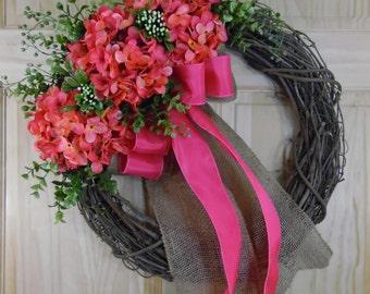 Spring wreath - pink hydrangea - hydrangea wreath - grapevine wreath - monogram wreath - summer wreath - mothers day