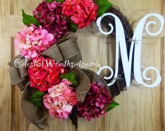Spring wreath - easter wreath -  Hydrangae wreath - grapevine wreath - mothers day gift -  wedding - housewarming - rustic wreath