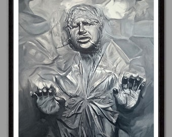 Han Solo Carbonite - Star Wars Empire Strikes Back - 11'' x 14'' digital print of original acrylic painting