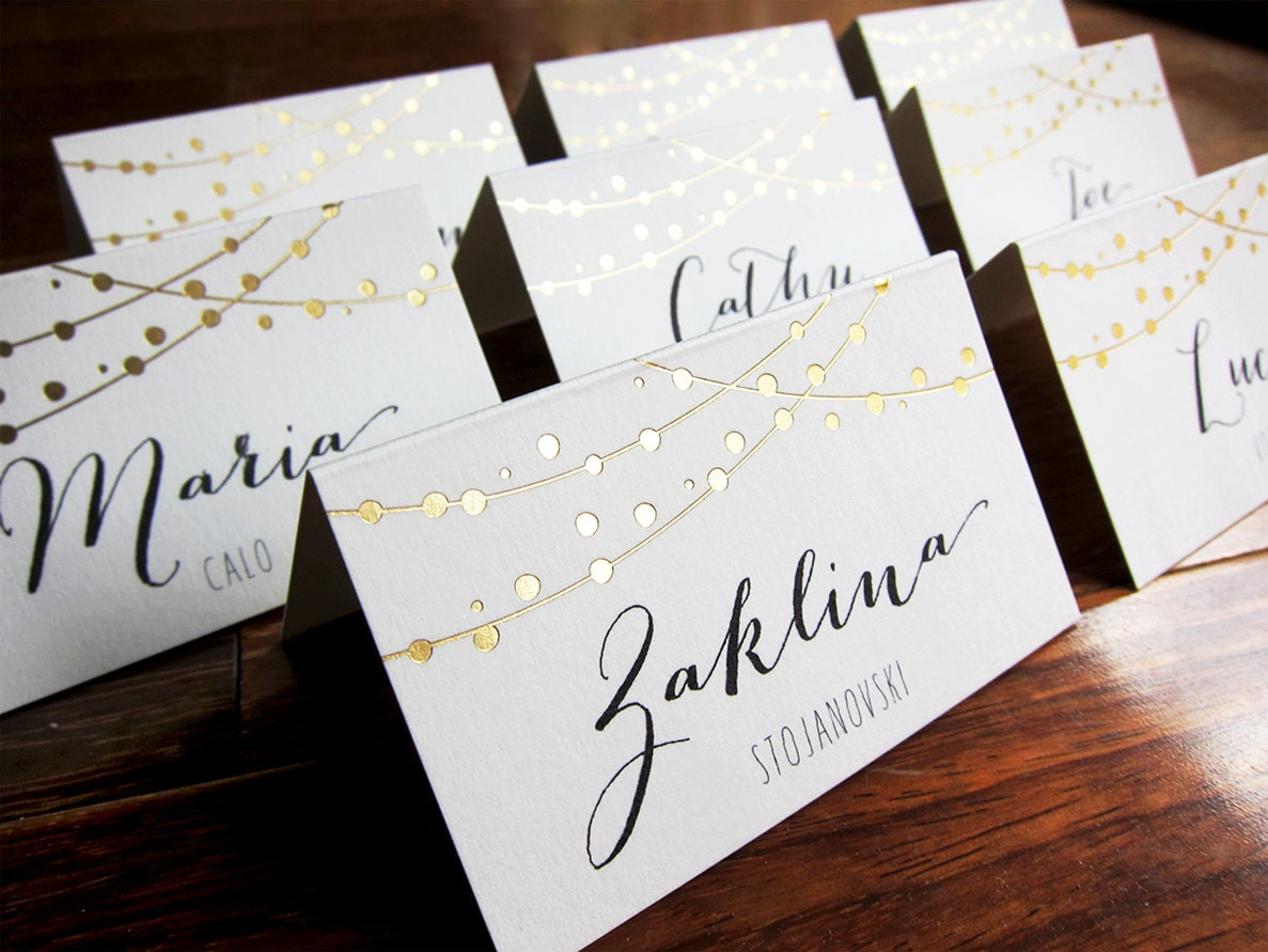 Table Place Cards Of Fairy Lights Wedding Place Cards Name Place By