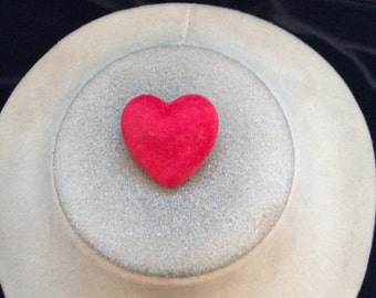 Vintage Red Velvet Heart Pin