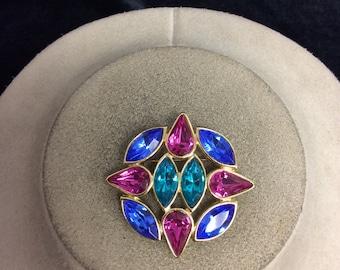 Vintage Pink Blue & Green Glass Pin