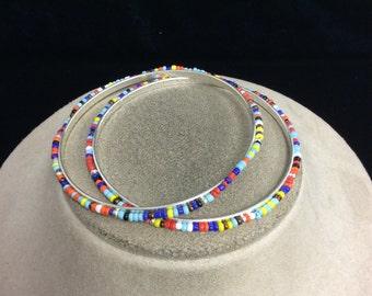 Vintage Set Of 2 Multi Colored Glass Beaded Bangle Bracelet