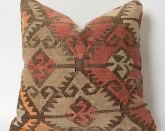 Kilim Pillowcase - Antique Turkish Handwoven Decorative Pillows For Couch Hand Embroidered Bohemian Throw Pillow - Ethnic Pillows
