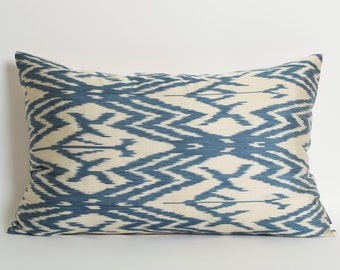 Blue Ikat Pillow Cover - Ikat Throw Pillow - White Blue Pillows - Chevron Cushion Cover Bohemian Chic Decor Off White Blue