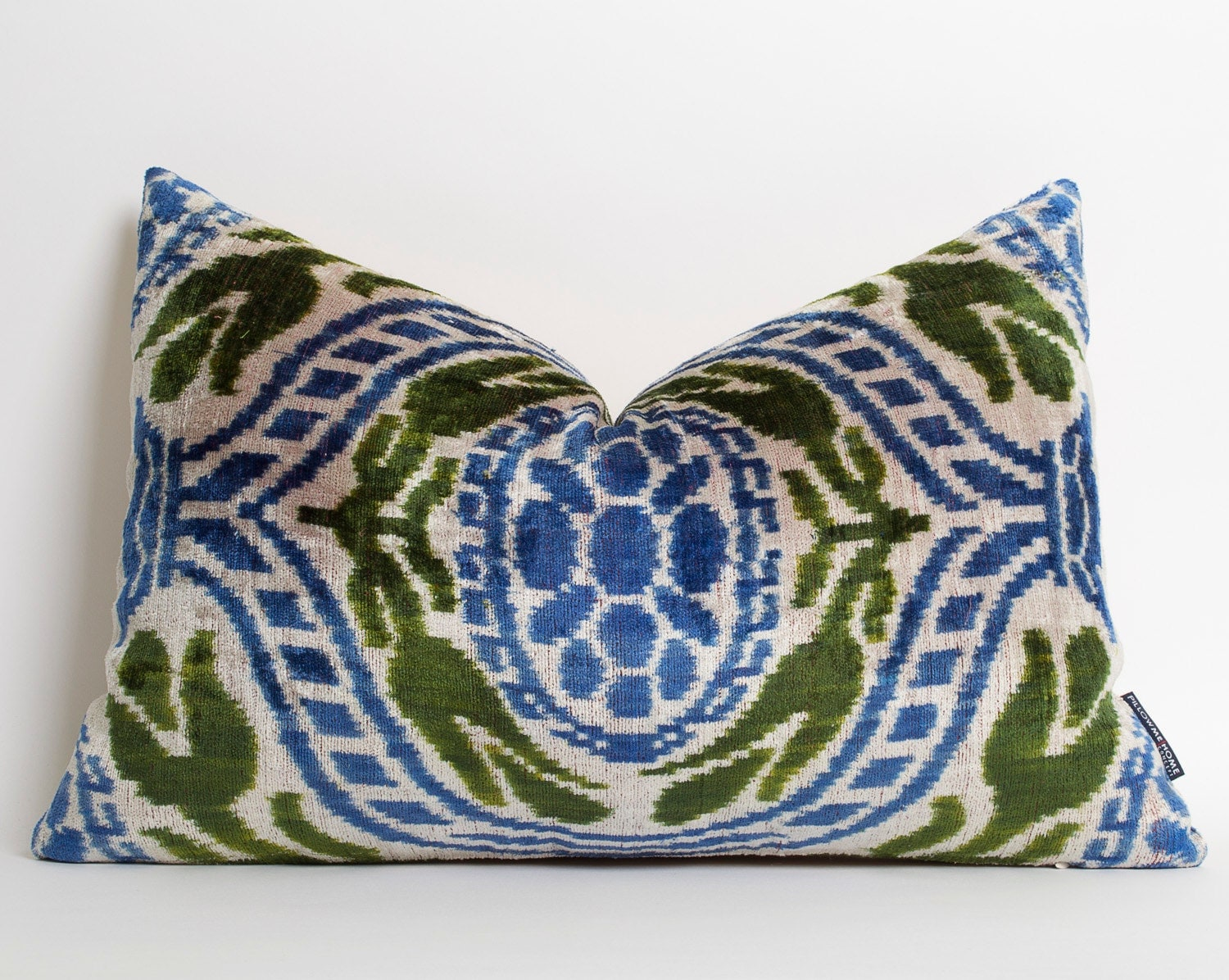 Blue Green Ikat Pillow Modern Throw Pillows by pillowme on Etsy