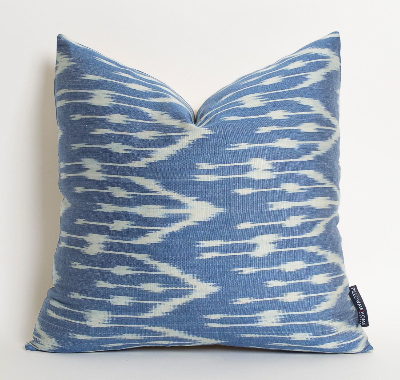 Blue Satin Throw Pillow : Navy Blue Silk Ikat Pillow Cover Handwoven Decorative by pillowme