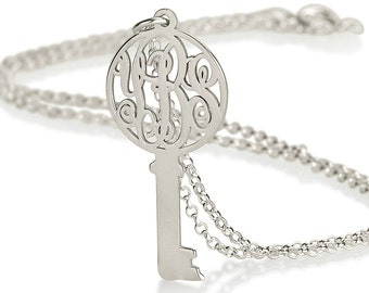 Monogram Key Necklace - Personalized Monogram on a key - Dainty Key Necklace - 925 Sterling Silver - Any initials