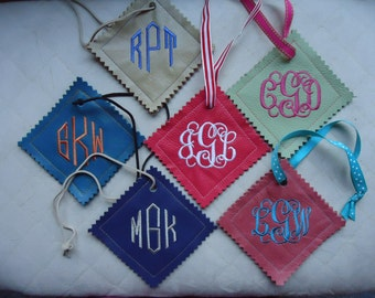 Monogrammed Leather Luggage Tag with Coordinating Lace