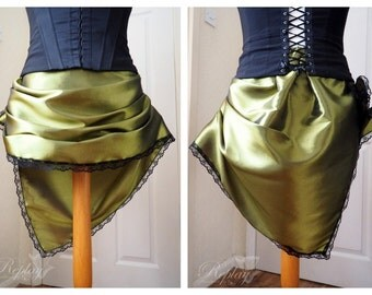 Juicy Olive Green Bustle / Mini Bustle Skirt / Overskirt - Victorian Steampunk Gothic Lolita Burlesque UK 16