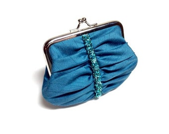 Turquoise green Swarovski beaded purse