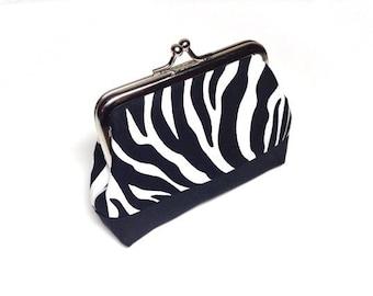 Zebra print cotton coin purse pink/black base