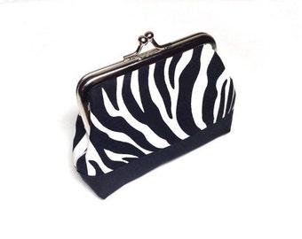 Zebra print cotton coin purse