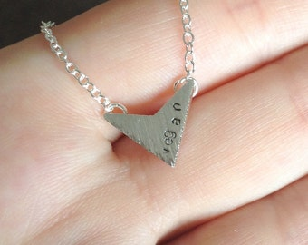 "Vegan necklace - delicate V for vegan handstamped geometric arrow pendant on 18"" silver plated chain"