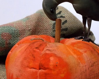 Primitive Crow on Pumpkin, Primitive bird. Textile soft sculpture bird and pumpkin, decoration
