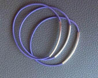 Purple Lavender or Violet Single Leather Tube Bracelet-Noodle-Friendship-Awareness Bracelet-Bangle-Epilepsy-Alzheimer-Curved Tube Bracelet