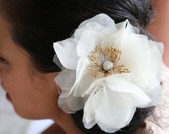 Bridal Silk Flower | Wedding| Handmade Ivory Silk Organza Flower  - Hair Adornment | Millinery | Mother | Bridesmaid | Decoration |