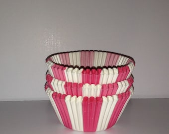 Clearance! 50 count - Pink circus stripe design standard size cupcake liners/baking cups