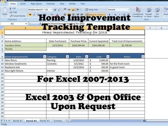 Home improvement tracking template in excel spreadsheet Home improvement software free