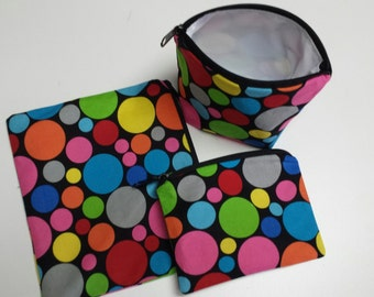 Reusable Sandwich Bag Set, Circles, Polka Dots, Gadget Bags, Make-Up Bags, Nylon Lining,Charger Bags,Snack Bags, Washable, Zipper Closure.