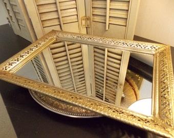 Vanity / Dresser Mirror RECTANTGULAR MIRROR Beautifully Framed in Filigree Antique Brass