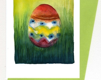 Egg in Grass Easter Card Original Watercolor