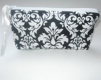 Cosmetic Padded zippered bag black & white damask, travel, diapers, electronics, organize your bag