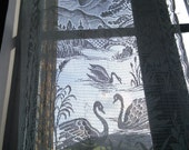 Reserved Betty - Lace Curtain Country Swan Scene French Vintage