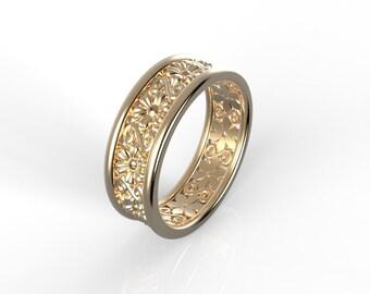 Wedding band Antique style Rose gold, Ring wedding woman