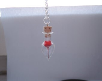 """Say it with Flowers :) graceful + elegant Miniature Vial with real dried red miniature Flower closed with cork on 32"""" silver chain"""