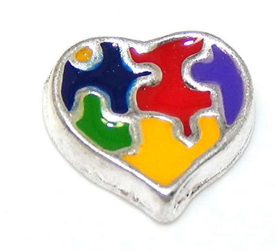 Autism Awareness Puzzle Pieces Heart Shaped Floating Charm for