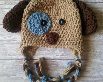 Crochet dog hat. Photo prop crochet hat. Child dog hat. Infant puppy hat.