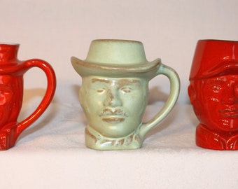 3 Frankoma mugs, 1976 1977 1978 Uncle Sam, ode to Baseball and western gentleman