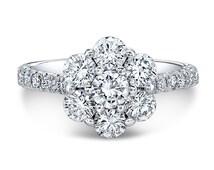 Round Diamond Flower Cluster Engagement Ring