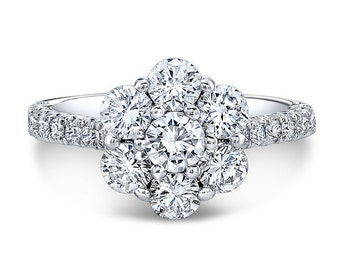 Round Diamond Flower Cluster Engagement Ring