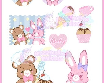 Flake sticker set fancy animal pastel colors cute and kawaii