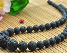 16 inches of Matte Black Lava round tower necklace,DIY handmade wholesale loose beads in 6-14mm
