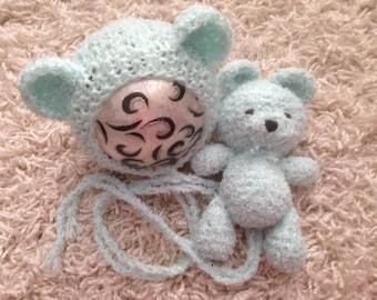 Newborn knit crochet buddy bear set