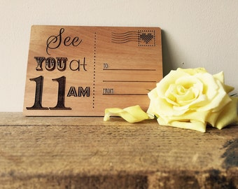 Personalised wooden 'See you at...' Postcard.