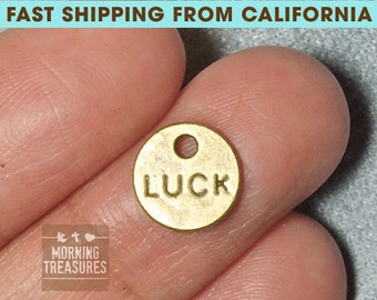 10pcs LUCK charms - LUCK small disc Charms, antique bronze Good Luck Pendants Charms 9mm - A010