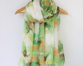 Green Floral Silk Scarf - Green Mulberry Silk Chiffon Scarf - Floral Silk Scarf - AS2015-1