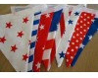 Handmade Red, White & Blue Bunting Flags