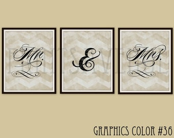 MR and MRS Art Prints, Wedding Gift, BRIDAL Shower Gift, Bride & Groom Wall Art