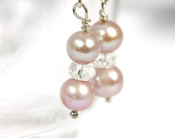 Pink Pearl earrings with facetted crystal quartz, Pearl earrings, Pink Pearls, Handmade earrings, Freshwater pearls