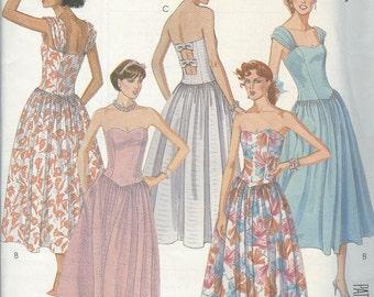 1980s Dress Pattern McCalls 2471 Evening Dress Maxi Strapless Sundress Gown Pattern Vintage Womens Sewing Patterns Size 14 uncut