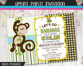 Monkey Party Invitation - Custom - Printable - Birthday - Baby Shower - Custom