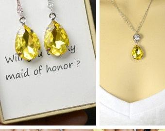 Bridal Drop Earrings Wedding Dangle Earrings Bridal Jewelry ,yellow citrine,Drop,dangle,clip on Earrings,Bridesmaid Gift ,rhinestone jewelry