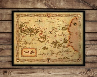 "Vintage style wall map of Narnia, Narnia map, Narnia fine art print, up to 30"" x 40"""