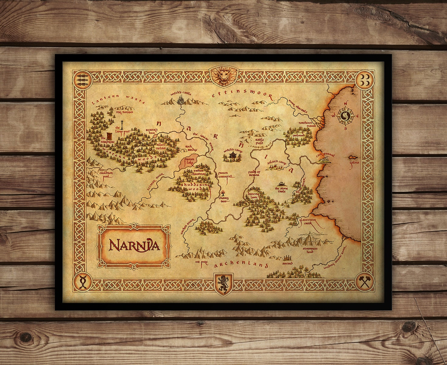 Vintage style wall map of Narnia Narnia map Narnia fine art